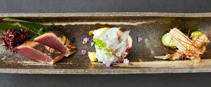 濱田屋の焼肉会席「賑わい」の前菜3品